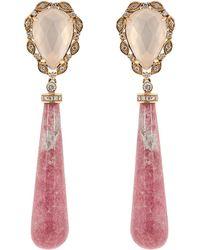 Dana Rebecca - Lunar Quartz Diamond And Thulite Earrings - Lyst