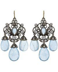 Fred Leighton - Aquamarine And Diamond Three Drop Chandelier Earrings - Lyst