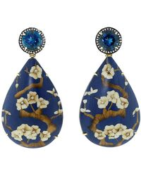 Silvia Furmanovich | Marquetry Blue Floral And Diamond Earrings | Lyst