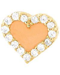 Alison Lou - Coral Enamel And Diamond Heart Stud - Lyst
