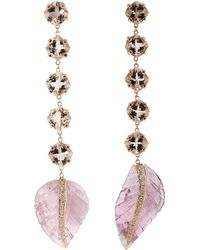 Jacquie Aiche - Morganite And Carved Pink Tourmaline Leaf Earrings - Lyst
