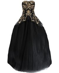 Marchesa - Gold Embroidered Tulle Gown - Lyst