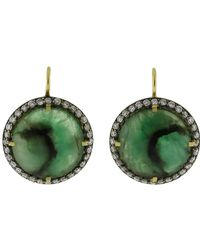 Sylva & Cie - Round Faceted Emerald Earrings - Lyst
