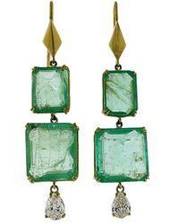 Sylva & Cie - Emerald And Pear Shape Diamond Earrings - Lyst