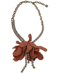 Lanvin | Crystal And Flower Necklace | Lyst