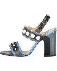 b8e71affc93 Lyst - Fendi Faux-pearl Embellished Leather Sandal