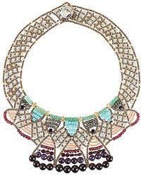 Ziio - Multi Stone Woven Wire Necklace - Lyst