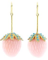 Irene Neuwirth - Carved Pink Opal Strawberry Earrings - Lyst