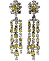Fantasia Jewelry - Top Round Canary And Cubic Zirconia Flower Drop Earrings - Lyst