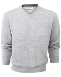 Brunello Cucinelli - V-neck Fine Gauge Sweater - Lyst