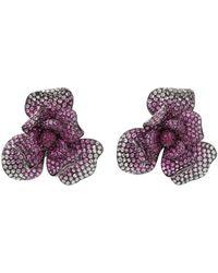 Wendy Yue - Pink Sapphire Flower Earrings - Lyst