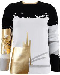 Oscar de la Renta - Gold Print Pullover - Lyst