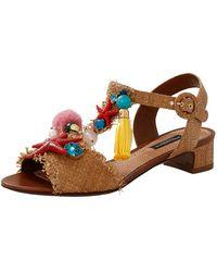 Dolce & Gabbana - Nautical Raffia Sandal - Lyst