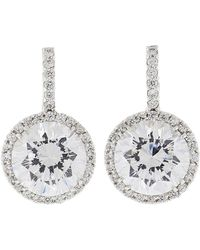 Fantasia Jewelry - Pave Solitaire Drop Earrings - Lyst