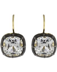 Fred Leighton - Cushion White Topaz Drop Earrings - Lyst