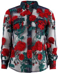 Adam Selman - Embroidered Sheer Shirt - Lyst