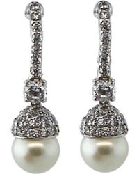 Fantasia Jewelry - Pave Pearl Drop Earrings - Lyst