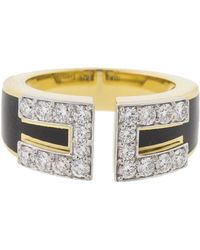 David Webb - Black Enamel And Diamond Gap Ring - Lyst
