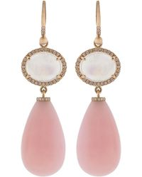 Irene Neuwirth - Rainbow Moonstone And Pink Opal Drop Earrings - Lyst