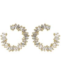 Suzanne Kalan Medium Spiral Diamond Baguette Earrings - Metallic