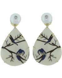 Silvia Furmanovich - Marquetry Blue Bird Earrings - Lyst