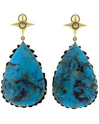 Sylva & Cie - Pear Shape Turquoise Earrings - Lyst