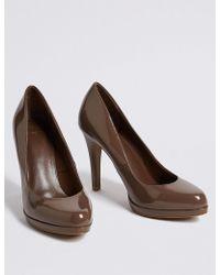 Marks & Spencer - Stiletto Heel Platform Skin Tone Court Shoes - Lyst