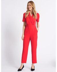 Marks & Spencer - Pique Short Sleeve Jumpsuit - Lyst