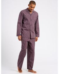 Marks & Spencer - Cotton Bend Checked Pyjaa Et - Lyst