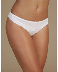 a5cc9f9e144d8 New Look White Lace Floral Embroidered Tie Side Thong in White - Lyst