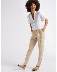 Marks & Spencer - Pure Linen Peg Trousers - Lyst