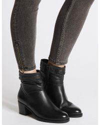 1f962776d0ef Lyst - Marks   Spencer Leather Block Heel Side Zip Ankle Boots in Black