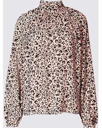 d6ca985f23c77e Marks & Spencer - Animal Print Funnel Neck Long Sleeve Blouse - Lyst