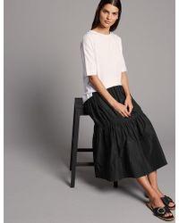 Marks & Spencer - Taffeta Drop Waist Full Midi Skirt - Lyst