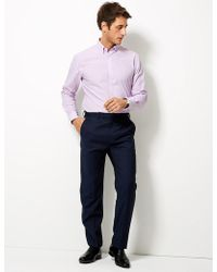 Marks & Spencer - Cotton Blend Tailored Fit Shirt - Lyst