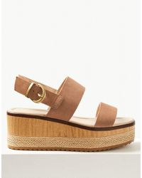 Marks & Spencer - Wide Fit Suede Two Band Sandals - Lyst