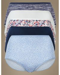 Marks & Spencer - 5 Pack Microfiber No Vpl Full Brief Knickers - Lyst
