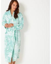 Marks & Spencer - Fleece Floral Print Dressing Gown With Belt - Lyst