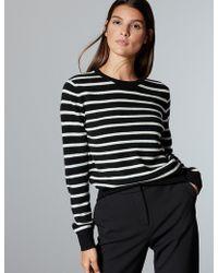 Marks & Spencer - Pure Cashmere Striped Round Neck Jumper - Lyst