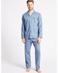 Marks & Spencer - Pure Cotton Slim Fit Striped Pyjama Set - Lyst