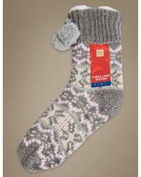Marks & Spencer - Fleece Fairisle Lined Booties - Lyst