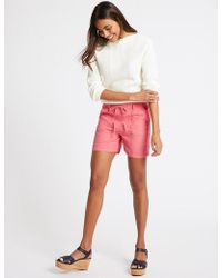 Marks & Spencer - Linen Rich Patch Pocket Shorts - Lyst