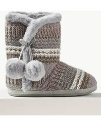 Marks & Spencer - Faux Fur Pom-pom Slipper Boots - Lyst