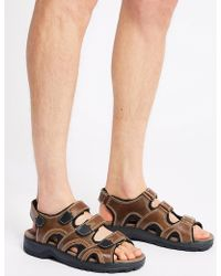 Marks & Spencer - Leather 3 Strap Riptape Sandals - Lyst