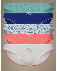 Marks & Spencer - 5 Pack Cotton Rich Bikini Knickers - Lyst