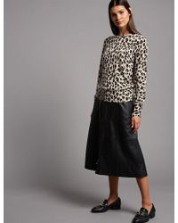 838a5b2b3be5 Marks & Spencer - Pure Cashmere Animal Print Jumper - Lyst