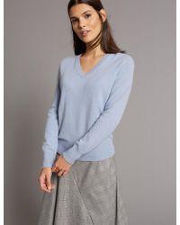 Marks & Spencer - Pure Cashmere Ribbed Hem V-neck Jumper - Lyst