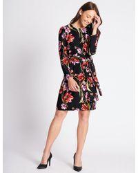 Marks & Spencer - Floral Print Long Sleeve Tunic Midi Dress - Lyst
