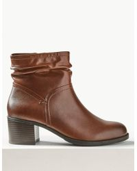 Marks & Spencer - Leather Block Heel Side Zip Ankle Boots - Lyst