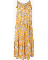 85f45ccc4360 Marks   Spencer Floral Print Shirred Beach Dress in Blue - Lyst